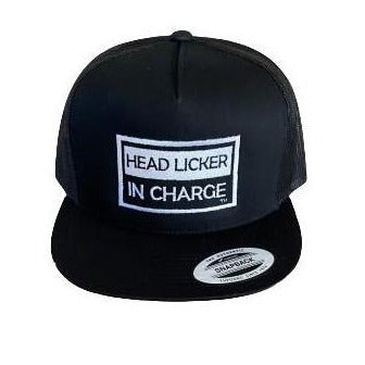 "THIGHBRUSH® ""HEAD LICKER IN CHARGE"" - Trucker Snapback Hat  - Black - Flat Bill"