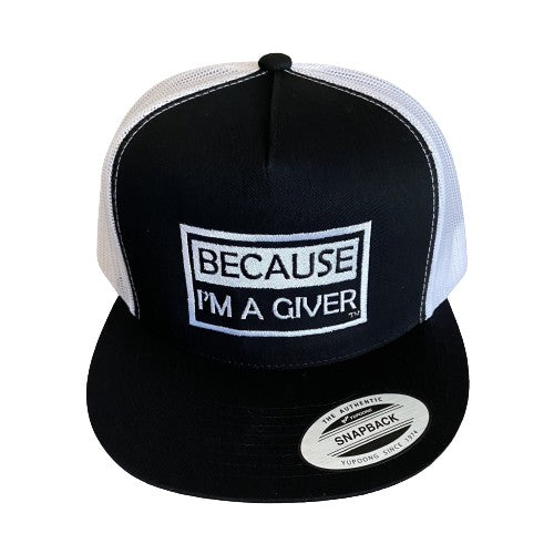 "THIGHBRUSH® ""BECAUSE I'M A GIVER"" - Trucker Snapback Hat - Black and White - Flat Bill"