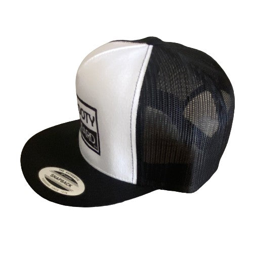 "THIGHBRUSH® ""NO BOOTY NO BEARD"" - Trucker Snapback Hat  - White and Black - Flat Bill"
