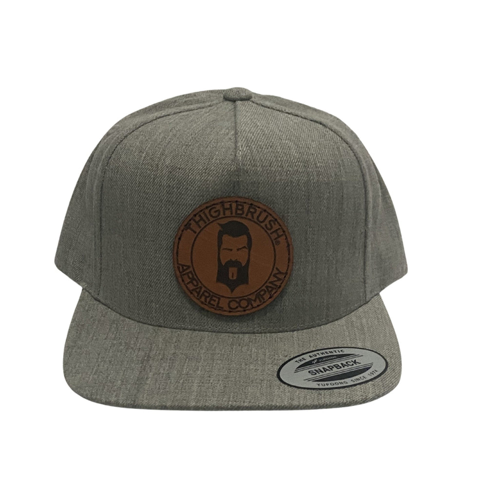 THIGHBRUSH® APPAREL COMPANY - Wool Blend Snapback Hat with Leather Patch - Heather Grey - Flat Bill