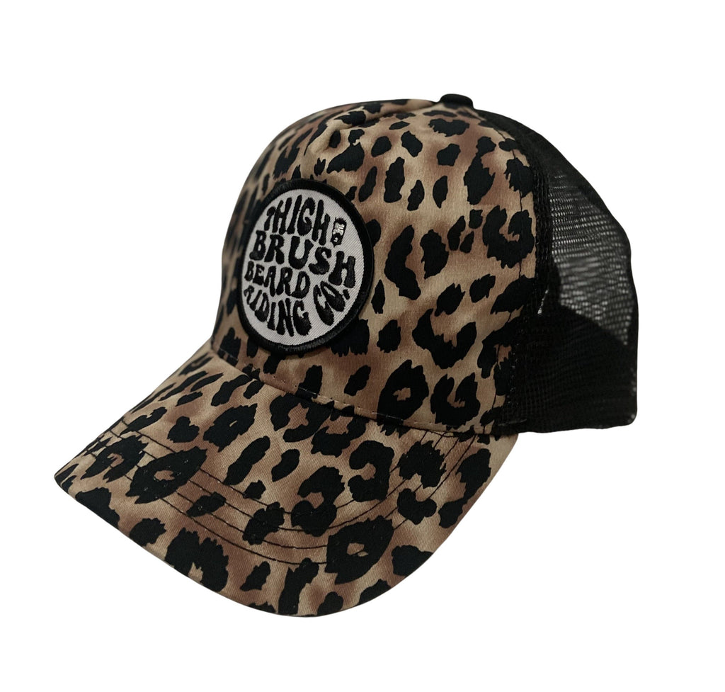THIGHBRUSH® BEARD RIDING COMPANY - Ponytail Trucker Snapback Hat - Leopard