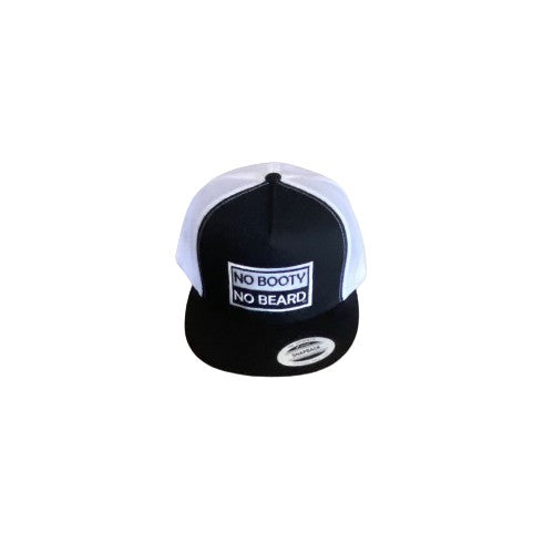 "THIGHBRUSH® ""NO BOOTY NO BEARD"" - Trucker Snapback Hat  - Black and White - Flat Bill"