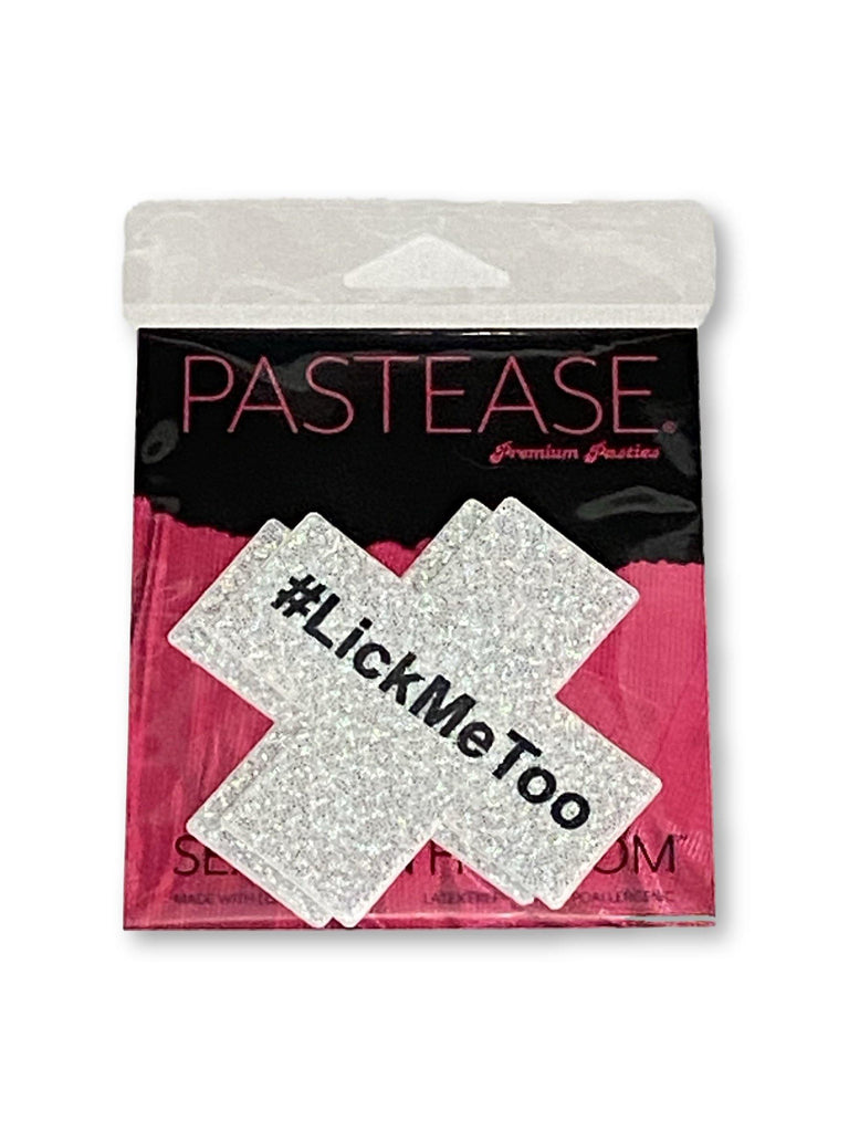 "Pastease® Premium Pasties - THIGHBRUSH® ""#LickMeToo""- Cross in White Glitter"