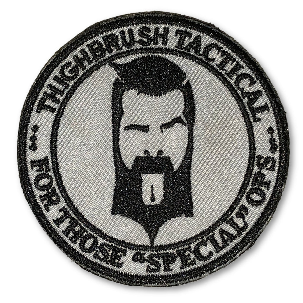 "THIGHBRUSH TACTICAL - MORAL PATCH ""For Those Special Ops"" Grey and Black (Velcro Backing) - thighbrush"