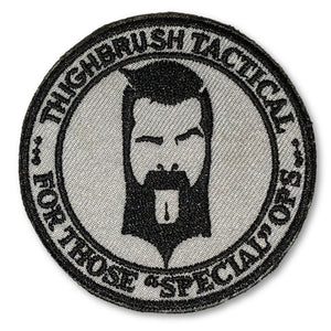"THIGHBRUSH TACTICAL - MORAL PATCH ""For Those Special Ops"" Grey and Black (Velcro Backing)"