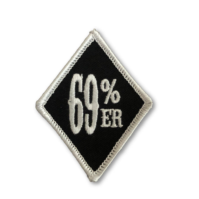 "THIGHBRUSH BIKERS - ""69% ER"" Patch - Diamond Shape - Black and White (Sew-on)"
