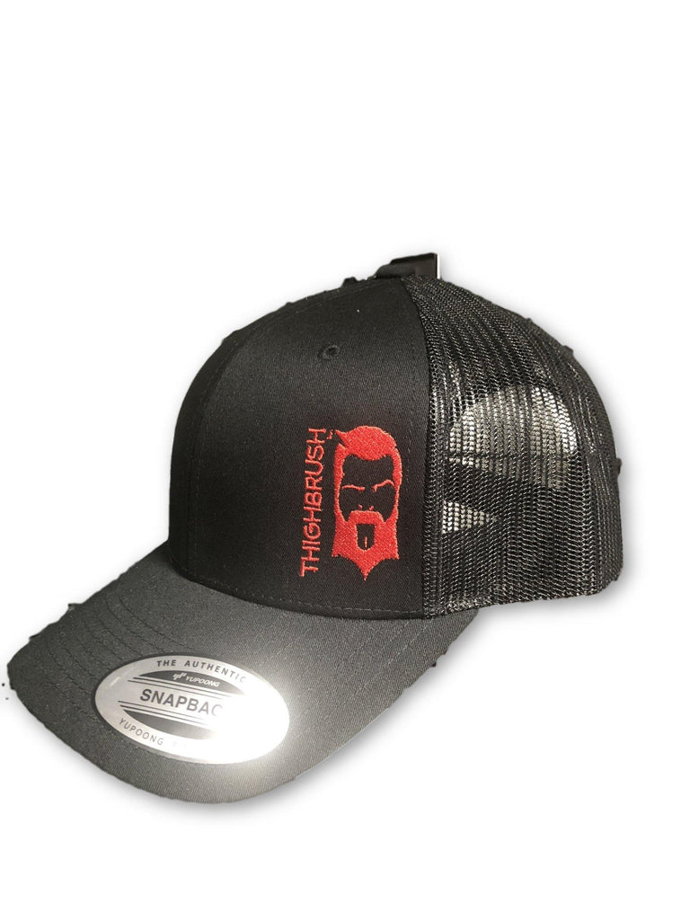 THIGHBRUSH® - Trucker Snapback Hat - Black and Red - thighbrush