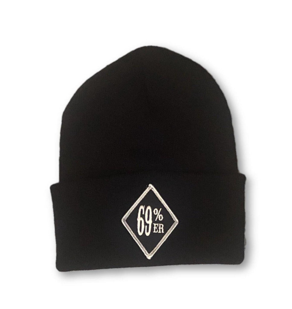 "THIGHBRUSH® BIKERS ""69 PERCENTER"" Cuffed Beanies - Diamond Patch on Front - Black - thighbrush"