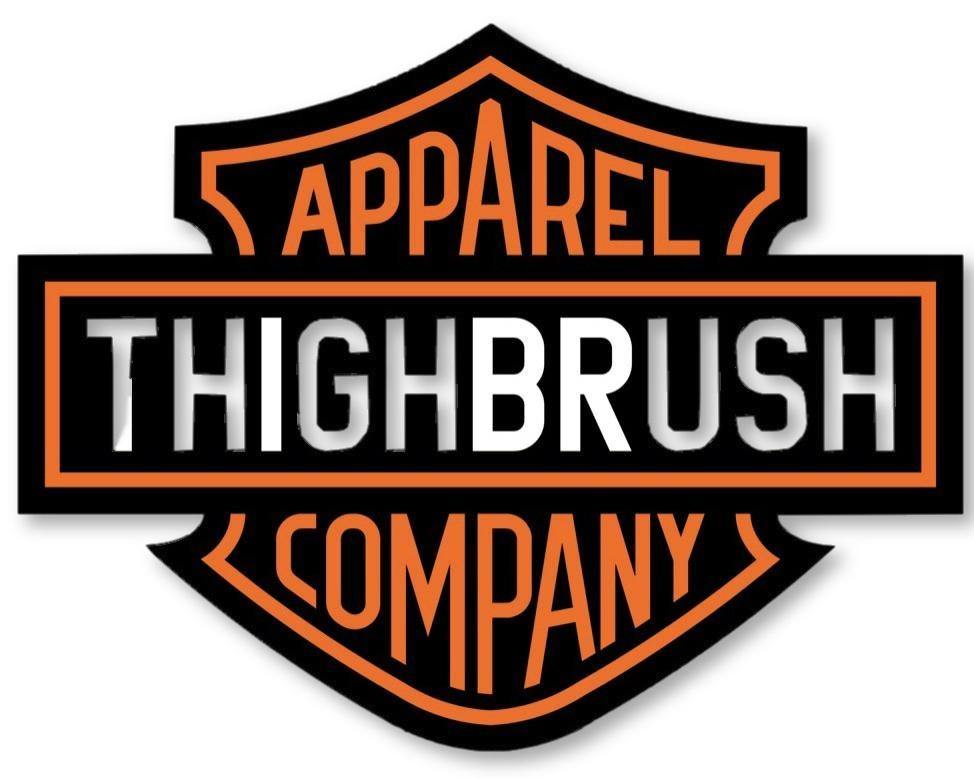 "THIGHBRUSH® BIKERS - ""THIGHBRUSH APPAREL COMPANY"" Men's T-Shirt - Black and Orange - thighbrush"