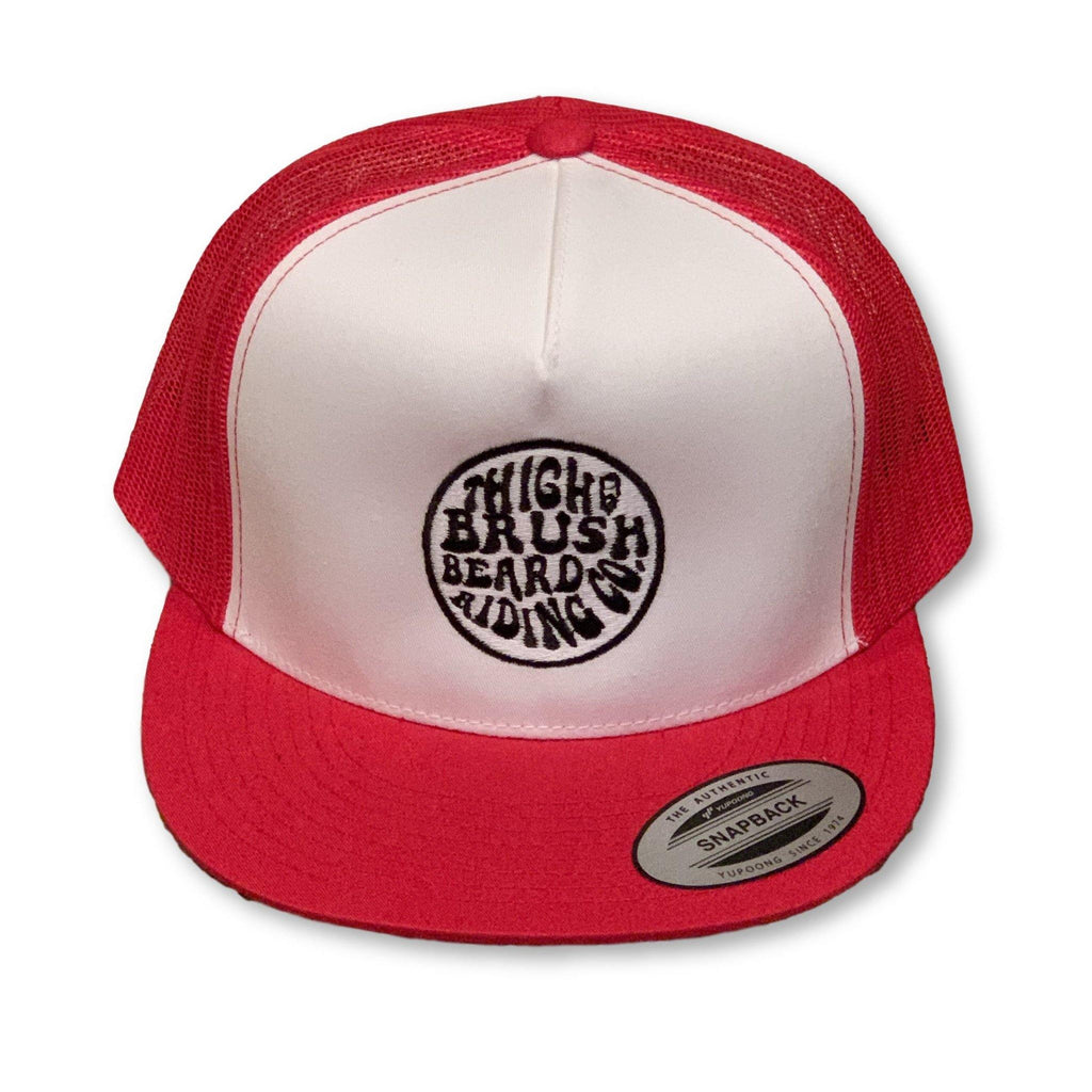 THIGHBRUSH® BEARD RIDING COMPANY - Trucker Snapback Hat - White and Red - Flat Bill - thighbrush