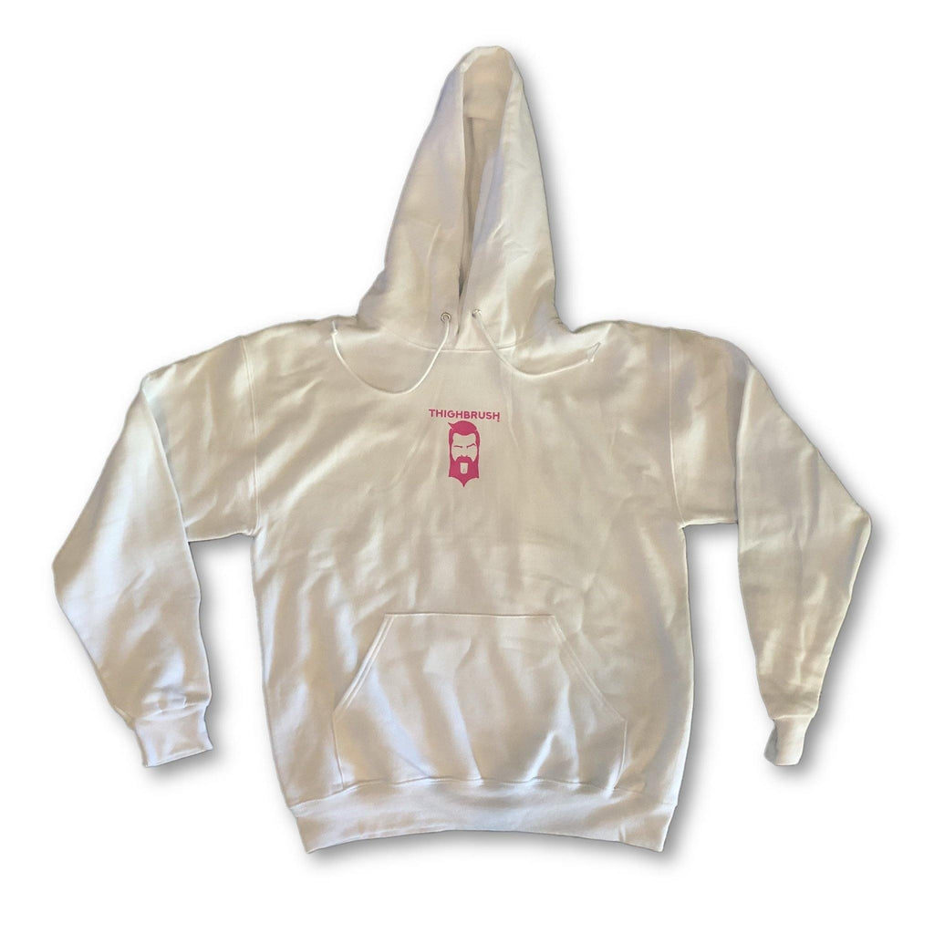 "THIGHBRUSH® - ""Tickled Pink"" - Unisex Hooded Sweatshirt - White and Pink - thighbrush"