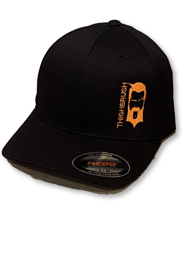 THIGHBRUSH® - FlexFit Hat - Black with Orange - #freebeardrides - THIGHBRUSH®
