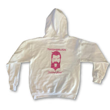 "THIGHBRUSH - ""Tickled Pink"" - Hooded Sweatshirt - White and Pink - THIGHBRUSH®"