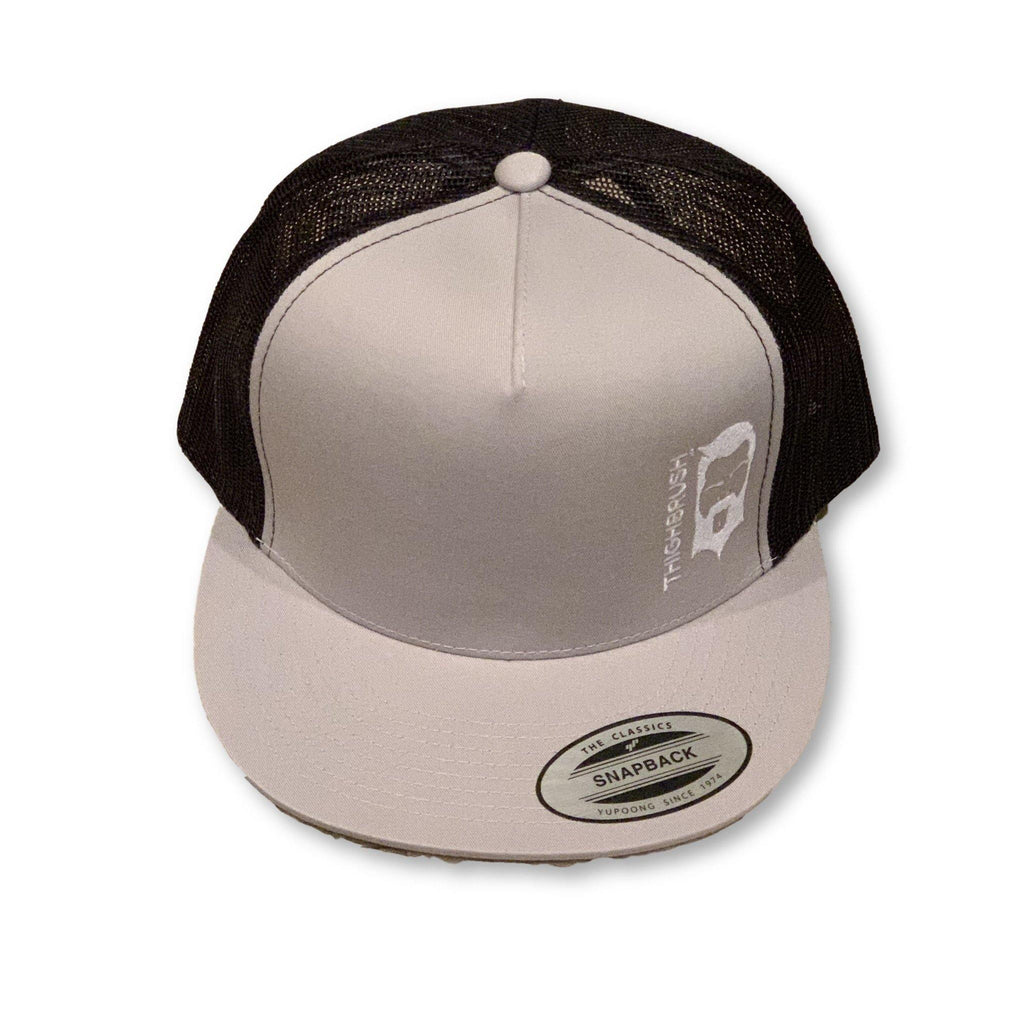 THIGHBRUSH® - Trucker Snapback Hat - Silver and Black - White Logo - Flat Bill - thighbrush