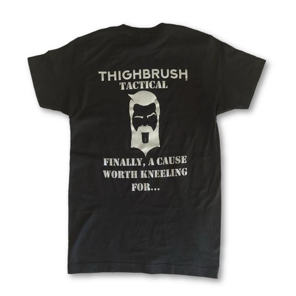 "THIGHBRUSH® TACTICAL - ""Finally, A Cause Worth Kneeling For..."" Men's T-Shirt - Black and Silver - thighbrush"