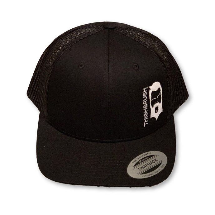 THIGHBRUSH® - Trucker Snapback Hat - Black on Black with White - thighbrush