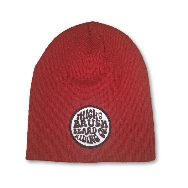 THIGHBRUSH® BEARD RIDING COMPANY Beanies - Patch on Front - Red - thighbrush