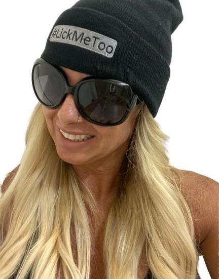 "THIGHBRUSH® ""#LickMeToo"" Cuffed Beanies - Black with Silver"