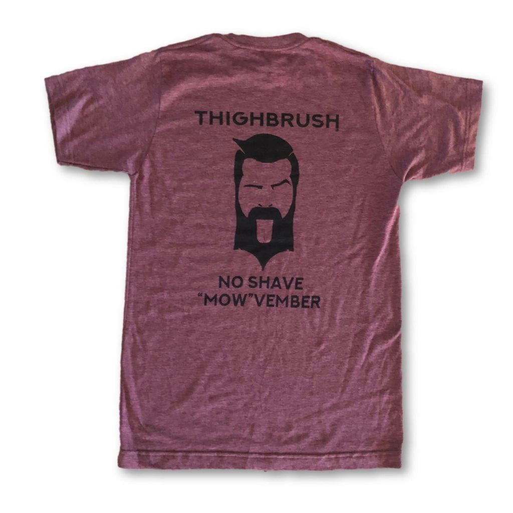 "LIMITED EDITION - THIGHBRUSH® - No Shave ""MOW""vember - Men's T-Shirt - Black Cherry and Black - thighbrush"