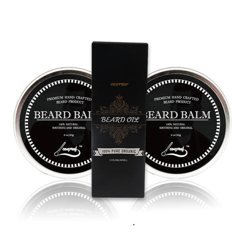 Natural Beard Moustache Balm and  Oil Set