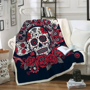 Sugar Skull Blanket Roses Microfiber Sherpa Sofa Throw - A Little Of Dis And Dat