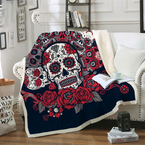 Sugar Skull Blanket Roses Microfiber Sherpa Sofa Throw Blanket Floral Printed Red Gothic Bedding mantas para cama - A Little Of Dis And Dat