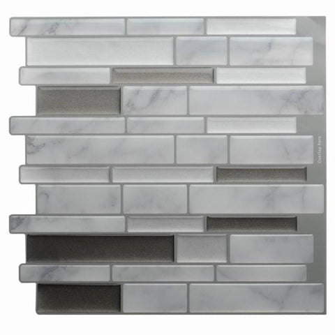 White Grey Marble Mosaic Peel and Stick Wall Tile Self adhesive Backsplash DIY Kitchen Bathroom Home Wall Decal Sticker Vinyl 3D - A Little Of Dis And Dat