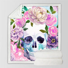 Load image into Gallery viewer, Sugar Skull Blanket Roses Microfiber Sherpa Sofa Throw - A Little Of Dis And Dat