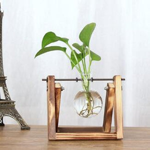 Vintage Creative Hydroponic Plant Transparent Vase Wooden Frame Coffee Shop Room Glass Tabletop Plant Bonsai Decr