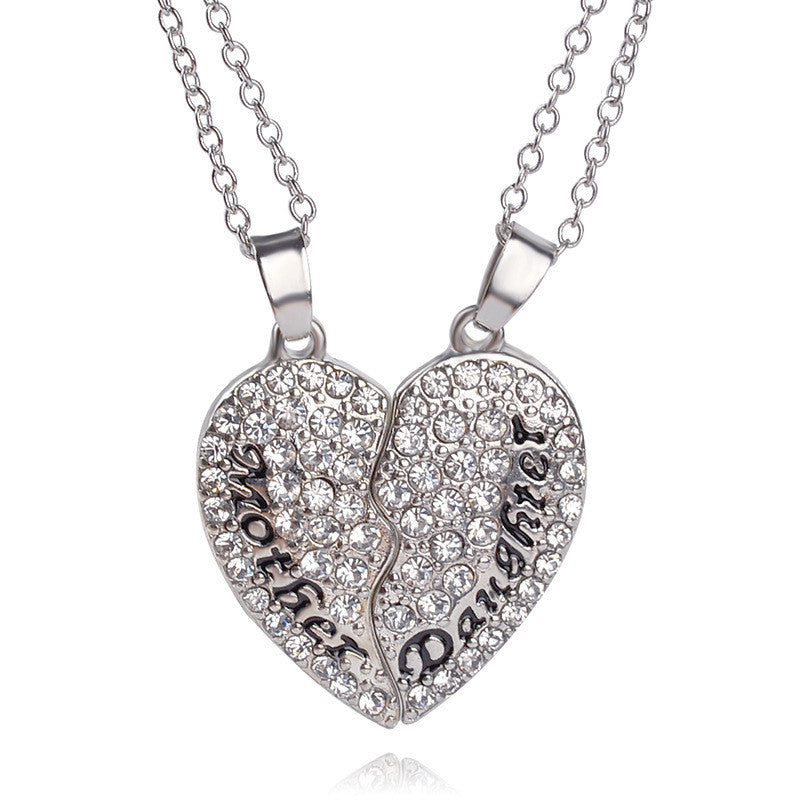 Mother daughter crystal heart shaped pendant necklace shopaveau mother daughter crystal heart shaped pendant necklace aloadofball Images