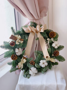 Full Christmas Wreath with Real Pine Firs