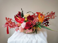 Chinese New Year Floral flowers CNY arrangement orchids gold red festive pussy willow prosperity fortune claypot pengcai 鸿运当头 财源广进