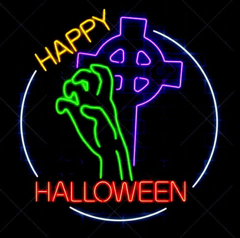 Hand Halloween Handmade Art Neon Sign