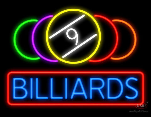 9 Ball Billiards Neon Sign