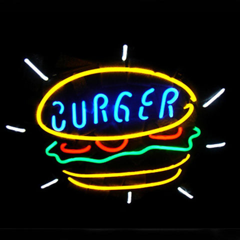 Professional  Burger Food Shop Open Neon Sign