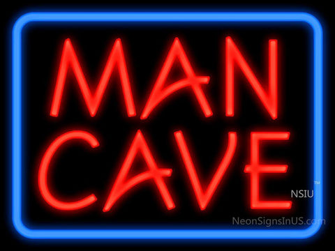 Man Cave Blue Border Neon Sign