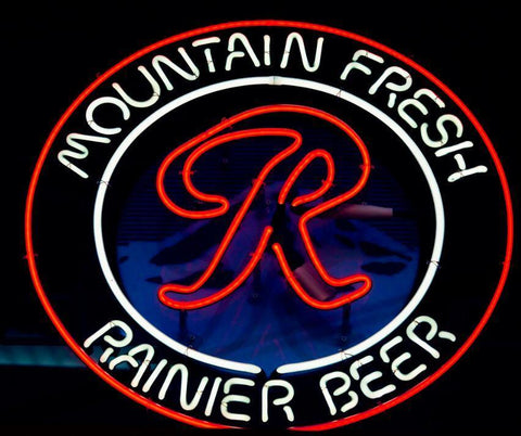 Mountain Fresh Rainier  Handmade Art Neon Sign