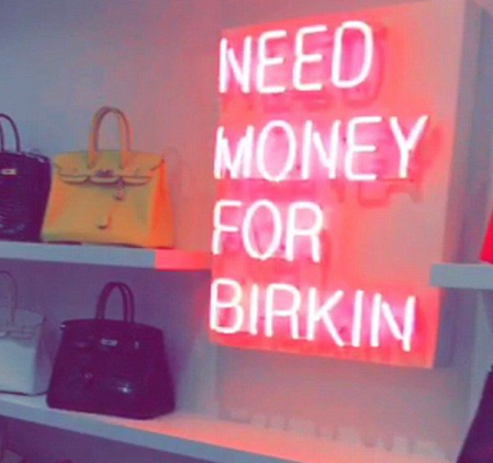 NEED MONEY FOR BIRKIN Handmade Art Neon Signs