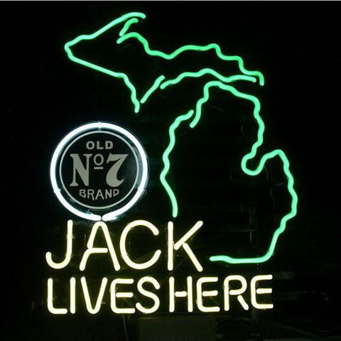 Professional  New Jack Daniels Lives Here Michigan Whiskey Real Neon Beer Bar Sign