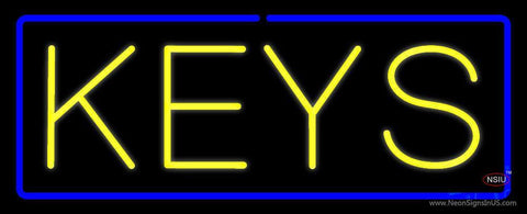 Yellow Keys Blue Border Neon Sign