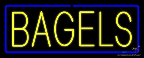 Yellow Bagels with Blue Border Neon Sign