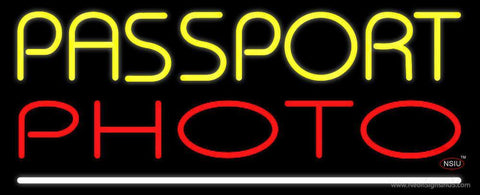 Yellow Passport Red Photo White Line Neon Sign