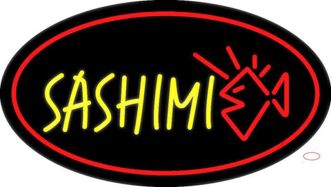 Yellow Sashimi Oval Red Neon Sign