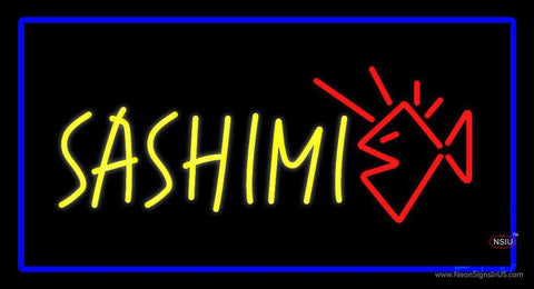 Yellow Sashimi Rectangle Blue Neon Sign