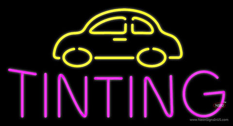 Yellow Car Pink Tinting Neon Sign