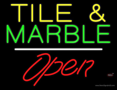 Tile and Marble Script Open White Line Neon Sign