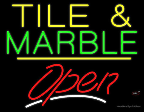 Tile and Marble Script Open Yellow Line Neon Sign