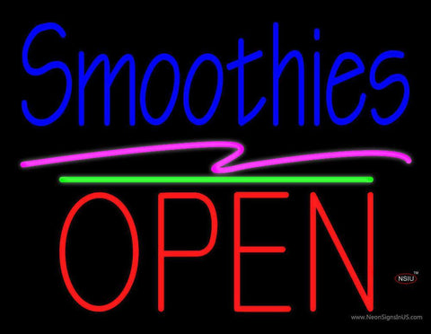 Smoothies Block Open Green Line Neon Sign