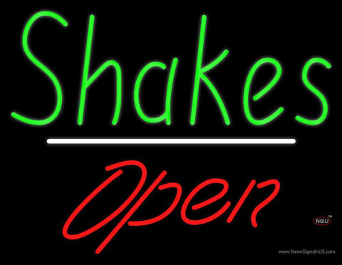 Shakes Open White Line Neon Sign