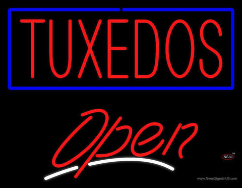Tuxedos Script Open Neon Sign